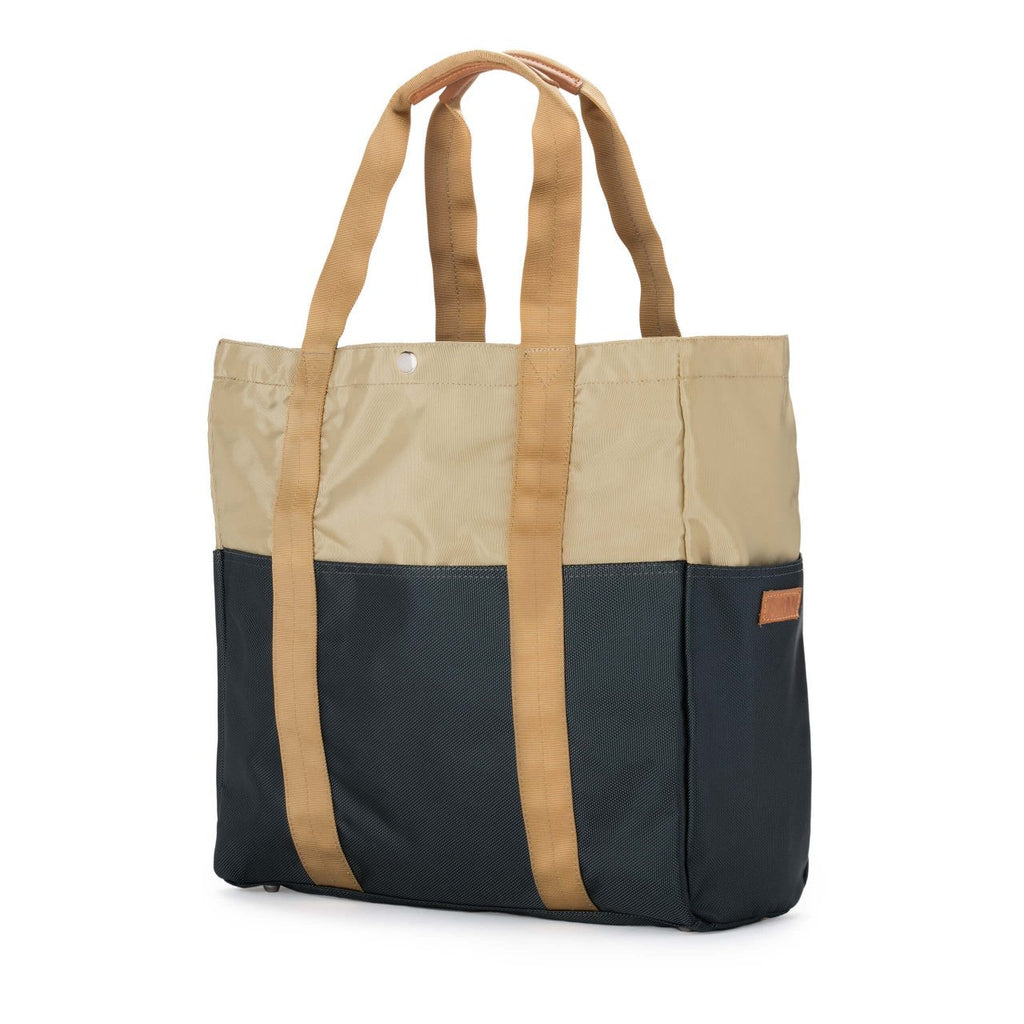 Taikan Sherpa Tote Bag in Beige/Navy/Yellow  - 2