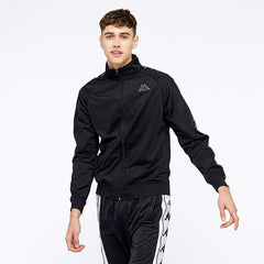 KAPPA 222 BANDA ANNISTON SLIM-FIT TRACK JACKET IN BLACK GREY