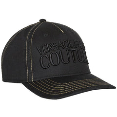 VERSACE JEANS COUTURE GOLD-STITCH 6-PANEL CAP IN BLACK