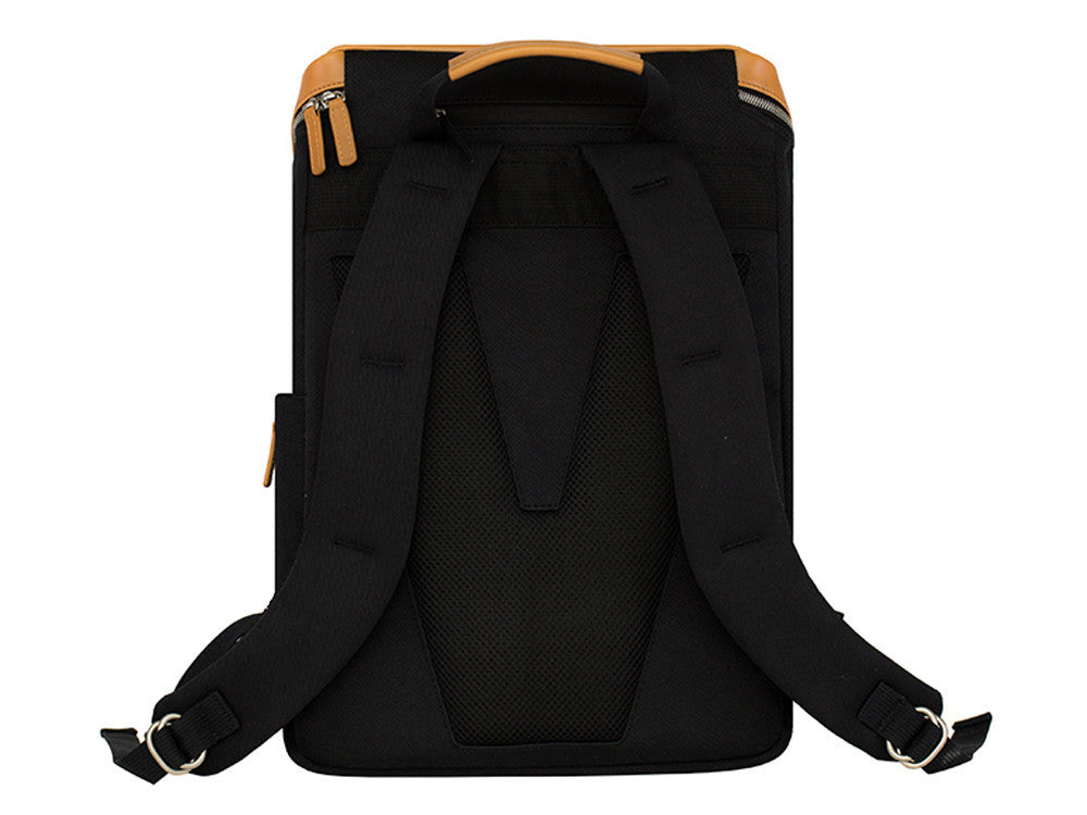 VENQUE AMSTERDAM BACKPACK IN BLACK WITH BROWN LEATHER  - 4