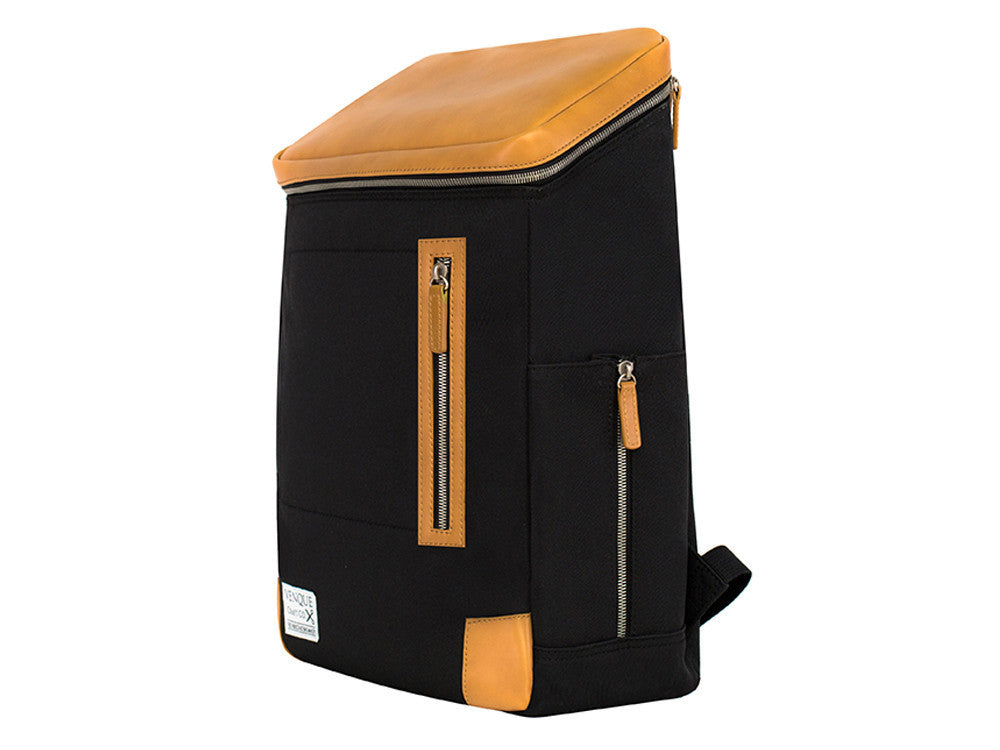 VENQUE AMSTERDAM BACKPACK IN BLACK WITH BROWN LEATHER  - 2