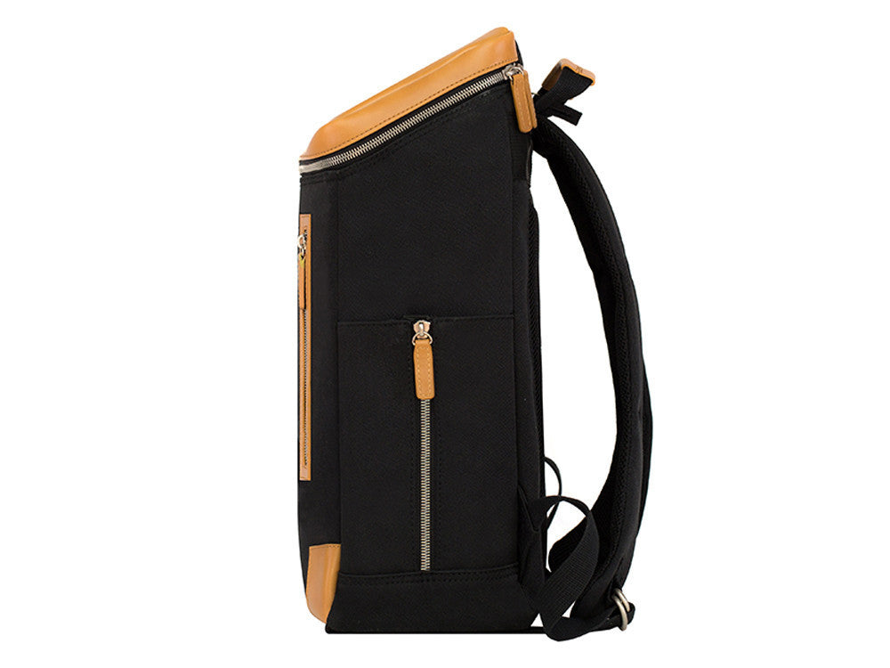 VENQUE AMSTERDAM BACKPACK IN BLACK WITH BROWN LEATHER  - 3