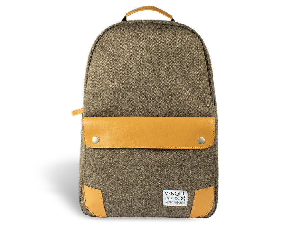VENQUE CLASSIC BACKPACK IN BROWN WITH BROWN LEATHER  - 1