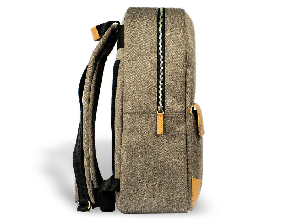 VENQUE CLASSIC BACKPACK IN BROWN WITH BROWN LEATHER  - 2
