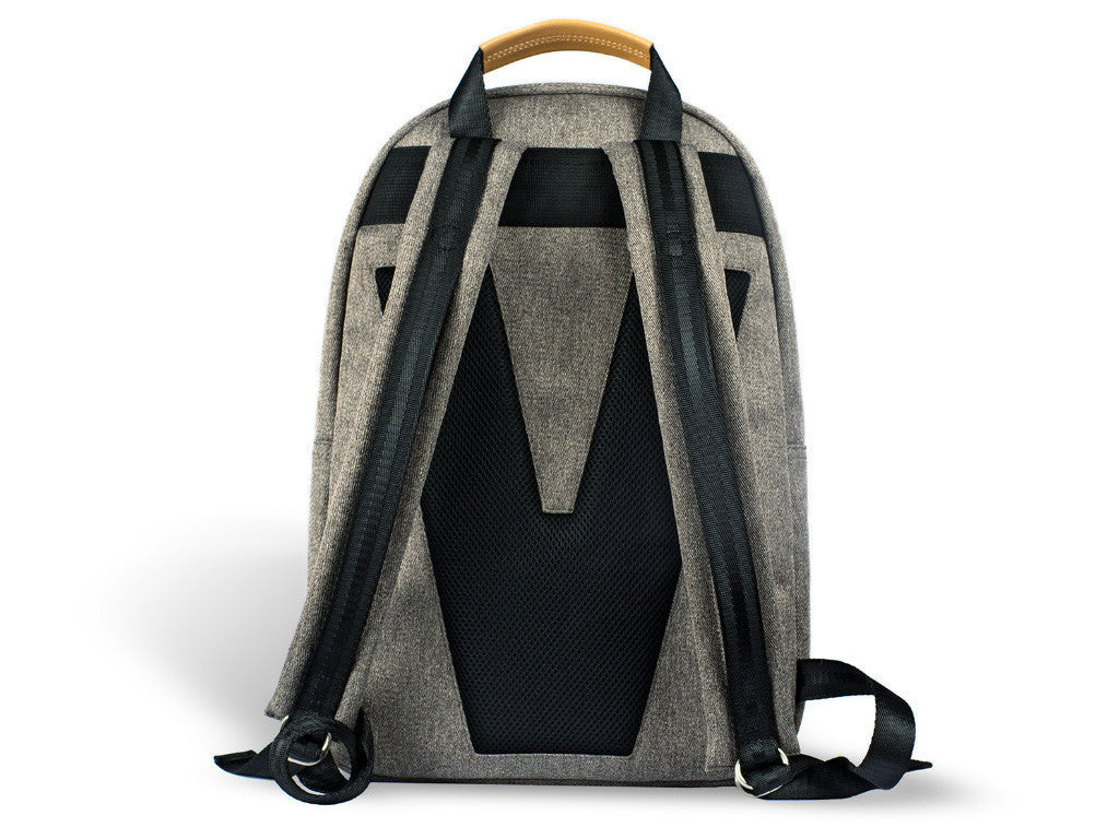 VENQUE CLASSIC BACKPACK IN GREY WITH BROWN LEATHER  - 4