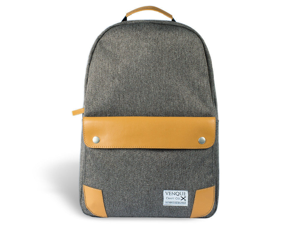 VENQUE CLASSIC BACKPACK IN GREY WITH BROWN LEATHER  - 1