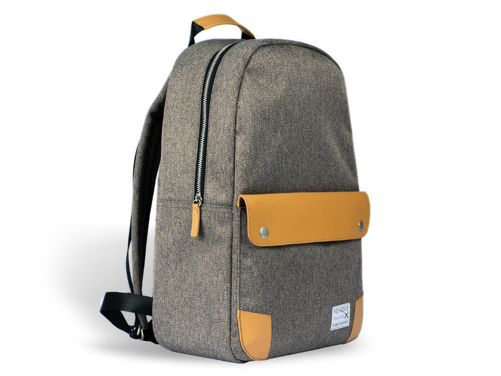 VENQUE CLASSIC BACKPACK IN GREY WITH BROWN LEATHER  - 2