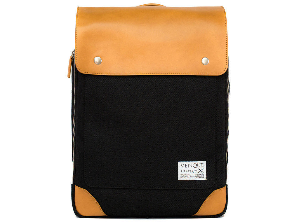 VENQUE FLATSQUARE BACKPACK IN BLACK WITH BROWN LEATHER  - 1