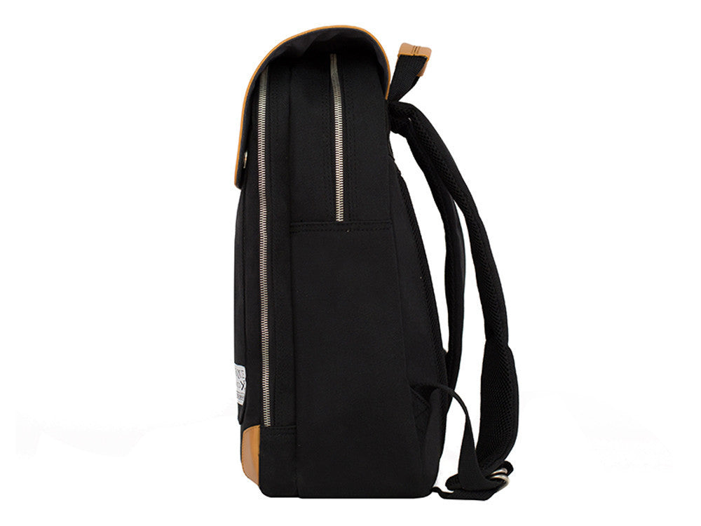 VENQUE FLATSQUARE BACKPACK IN BLACK WITH BROWN LEATHER  - 3