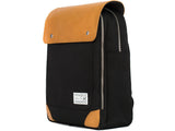 VENQUE FLATSQUARE BACKPACK IN BLACK WITH BROWN LEATHER  - 2