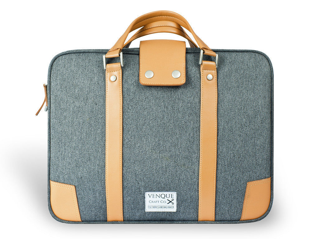 VENQUE HAMPTONS MESSENGER TOTE IN GREY WITH BROWN LEATHER  - 1