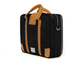 VENQUE HAMPTONS MESSENGER TOTE IN BLACK WITH BROWN LEATHER  - 2