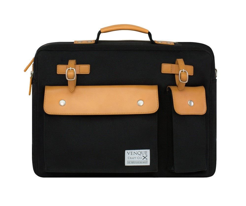 VENQUE MILANO TRAVEL MESSENGER IN BLACK WITH BROWN LEATHER  - 1