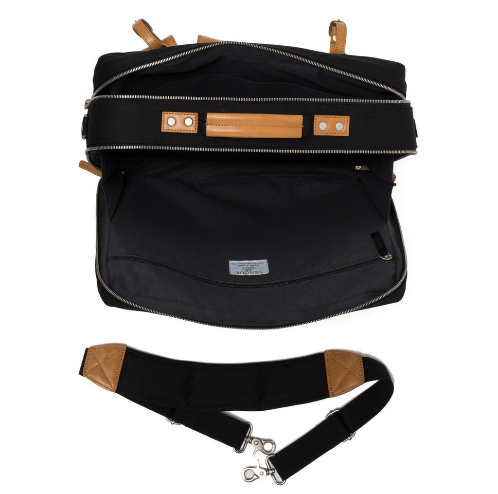 VENQUE MILANO TRAVEL MESSENGER IN BLACK WITH BROWN LEATHER  - 5