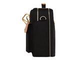 VENQUE MILANO TRAVEL MESSENGER IN BLACK WITH BROWN LEATHER  - 3