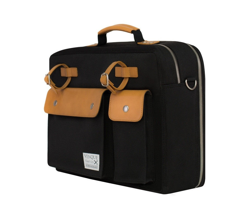 VENQUE MILANO TRAVEL MESSENGER IN BLACK WITH BROWN LEATHER  - 2