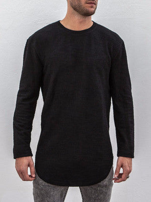 VITALY DOUBLE SCOOP SWEATER IN BLACK  - 1