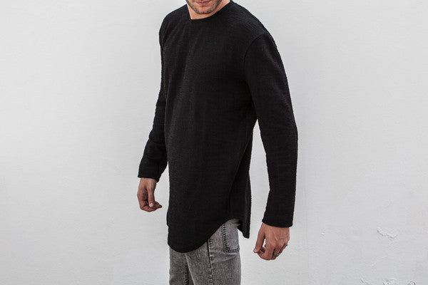 VITALY DOUBLE SCOOP SWEATER IN BLACK  - 2