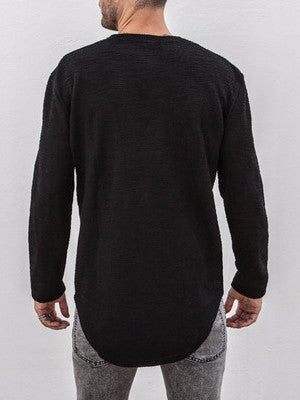 VITALY DOUBLE SCOOP SWEATER IN BLACK  - 4
