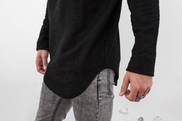 VITALY DOUBLE SCOOP SWEATER IN BLACK  - 3