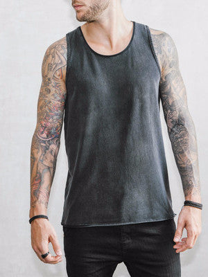 VITALY FISHTAIL SLEEVELESS T-SHIRT IN ACID BLACK  - 1