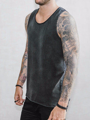 VITALY FISHTAIL SLEEVELESS T-SHIRT IN ACID BLACK  - 2