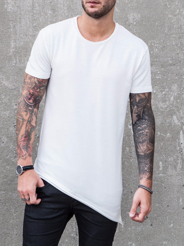 VITALY LAYERED A-CUT FISHTAIL T-SHIRT IN OFF WHITE  - 1