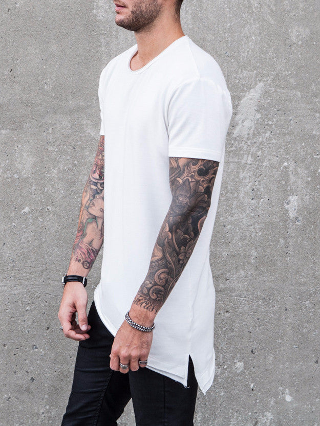 VITALY LAYERED A-CUT FISHTAIL T-SHIRT IN OFF WHITE  - 2