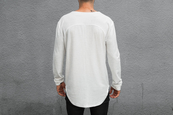 VITALY DOUBLE SCOOP SWEATER IN OFF-WHITE  - 4