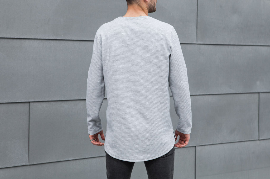 VITALY TEXTURED FISHTAIL SWEATER IN GREY  - 3