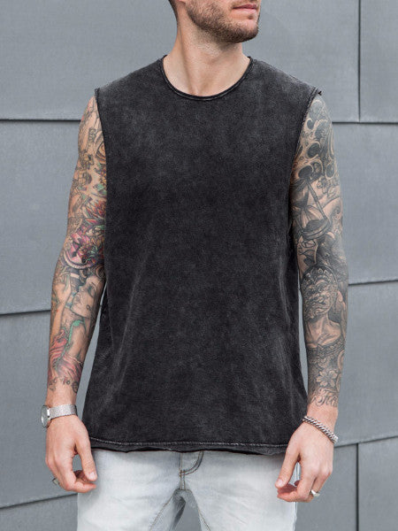 VITALY BOXER SLEEVELESS T-SHIRT IN ACID BLACK  - 1
