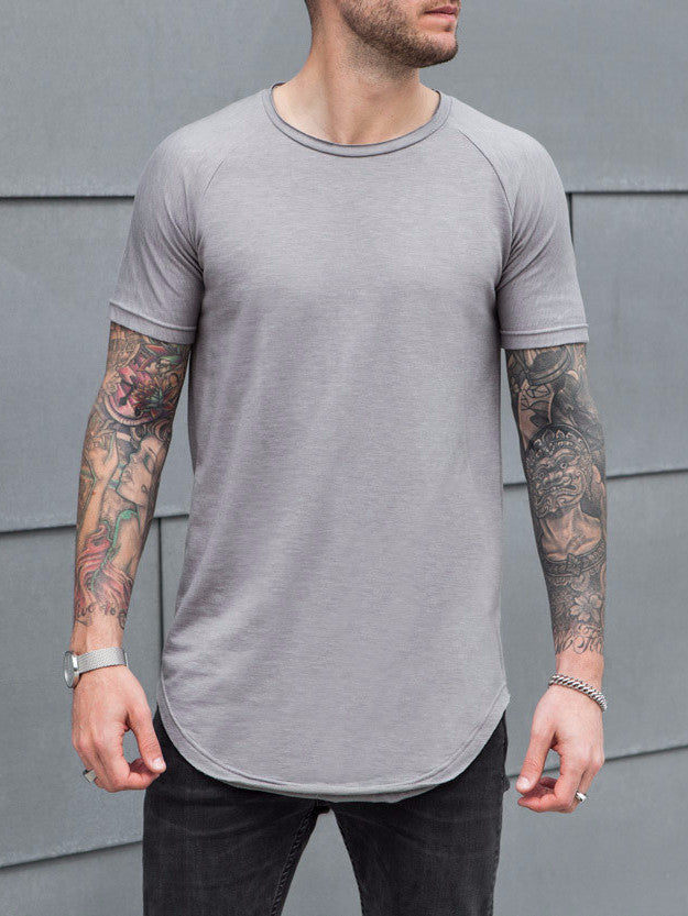 VITALY SCOOPED T-SHIRT IN GREY  - 1