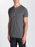 WORKSHOP SHORT-SLEEVE HENLEY IN HEATHERED GREY  - 3