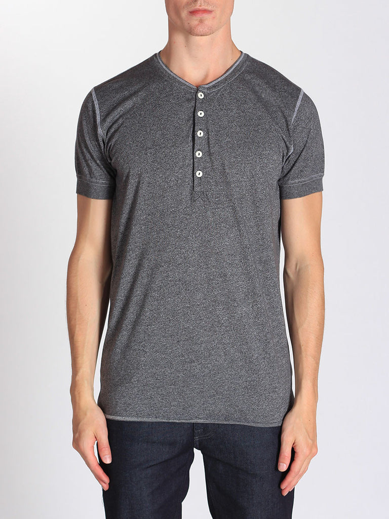WORKSHOP SHORT-SLEEVE HENLEY IN HEATHERED GREY  - 1