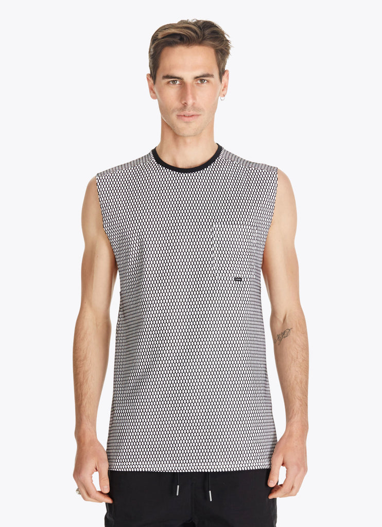 ZANEROBE HIVE FLINTLOCK SLEEVELESS MUSCLE SHIRT IN WHITE AND BLACK  - 1