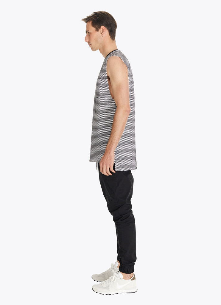 ZANEROBE HIVE FLINTLOCK SLEEVELESS MUSCLE SHIRT IN WHITE AND BLACK  - 3