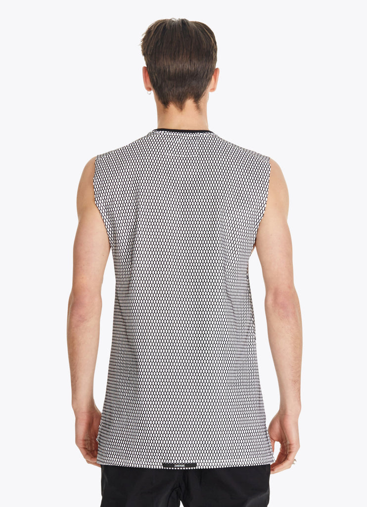 ZANEROBE HIVE FLINTLOCK SLEEVELESS MUSCLE SHIRT IN WHITE AND BLACK  - 4