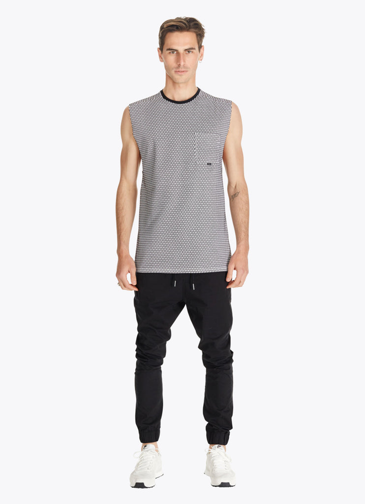 ZANEROBE HIVE FLINTLOCK SLEEVELESS MUSCLE SHIRT IN WHITE AND BLACK  - 5