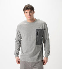 ZANEROBE TECH BOX LONG-SLEEVE T-SHIRT IN DARK GREY MARLE