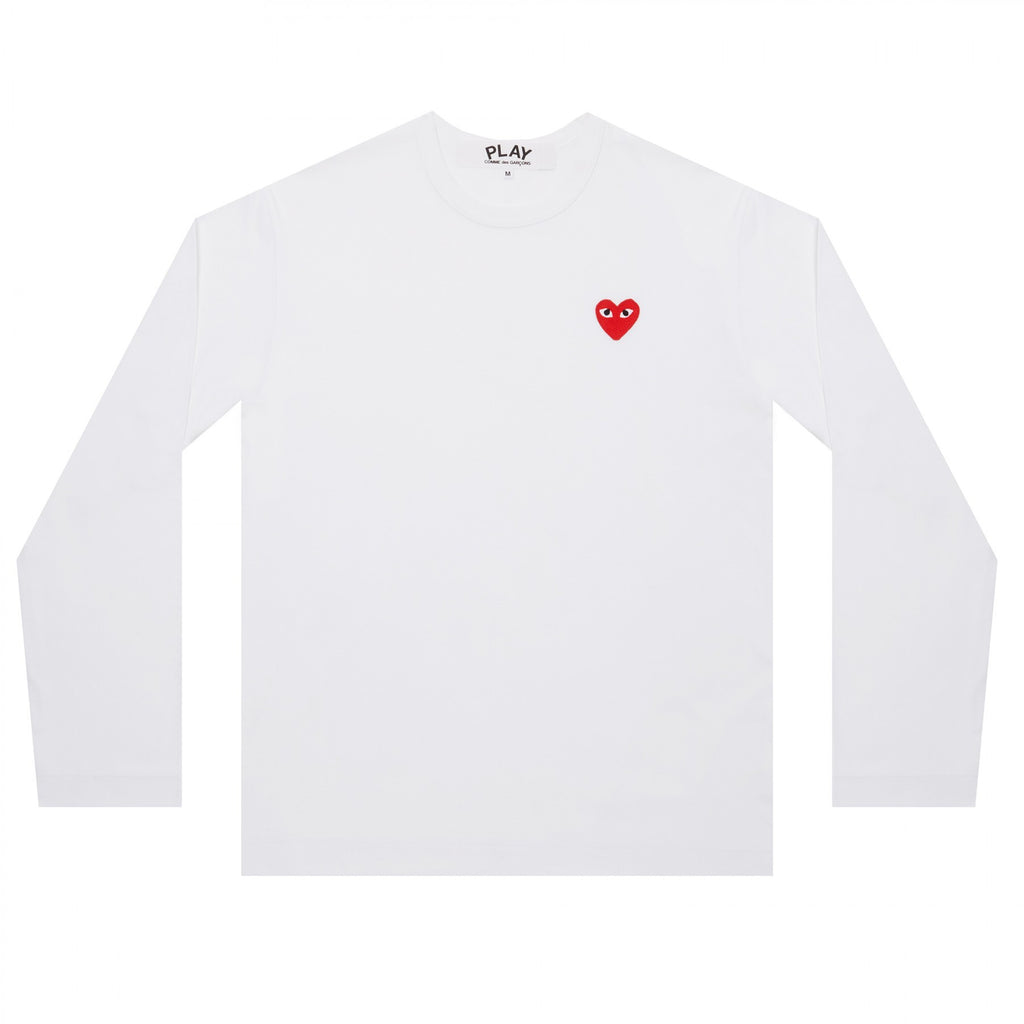 COMME DES GARCONS PLAY LONG-SLEEVE T-SHIRT IN WHITE WITH RED HEART