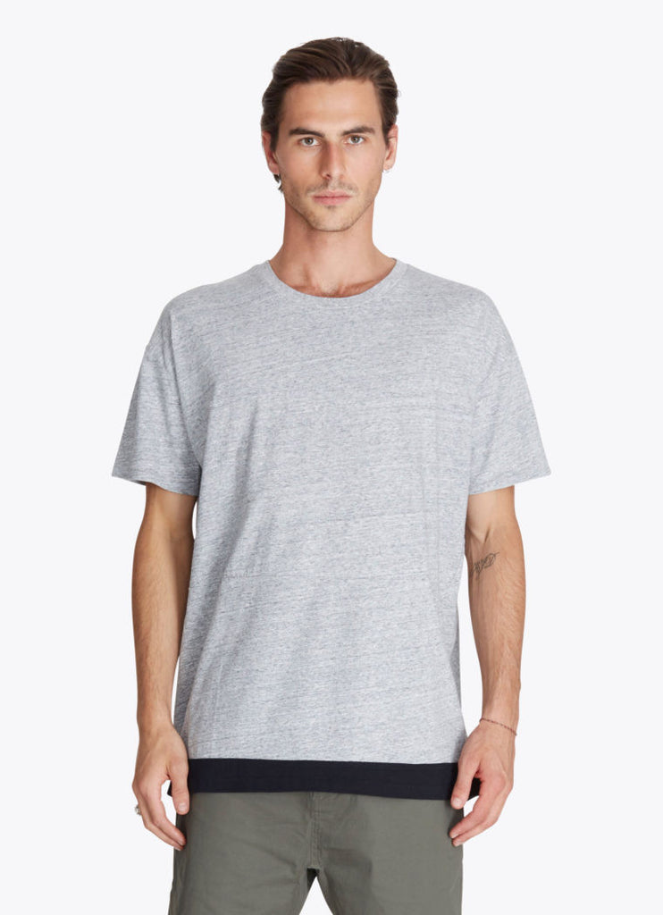 ZANEROBE Dip Rugger T-Shirt in Grey Marle and Black  - 1