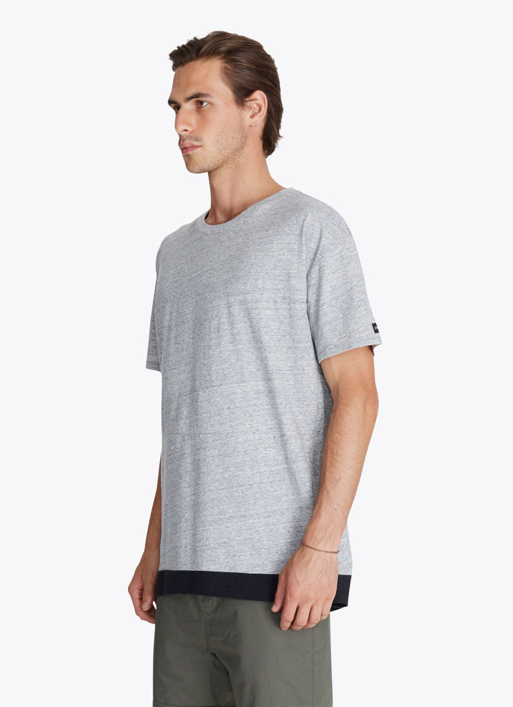 ZANEROBE Dip Rugger T-Shirt in Grey Marle and Black  - 3