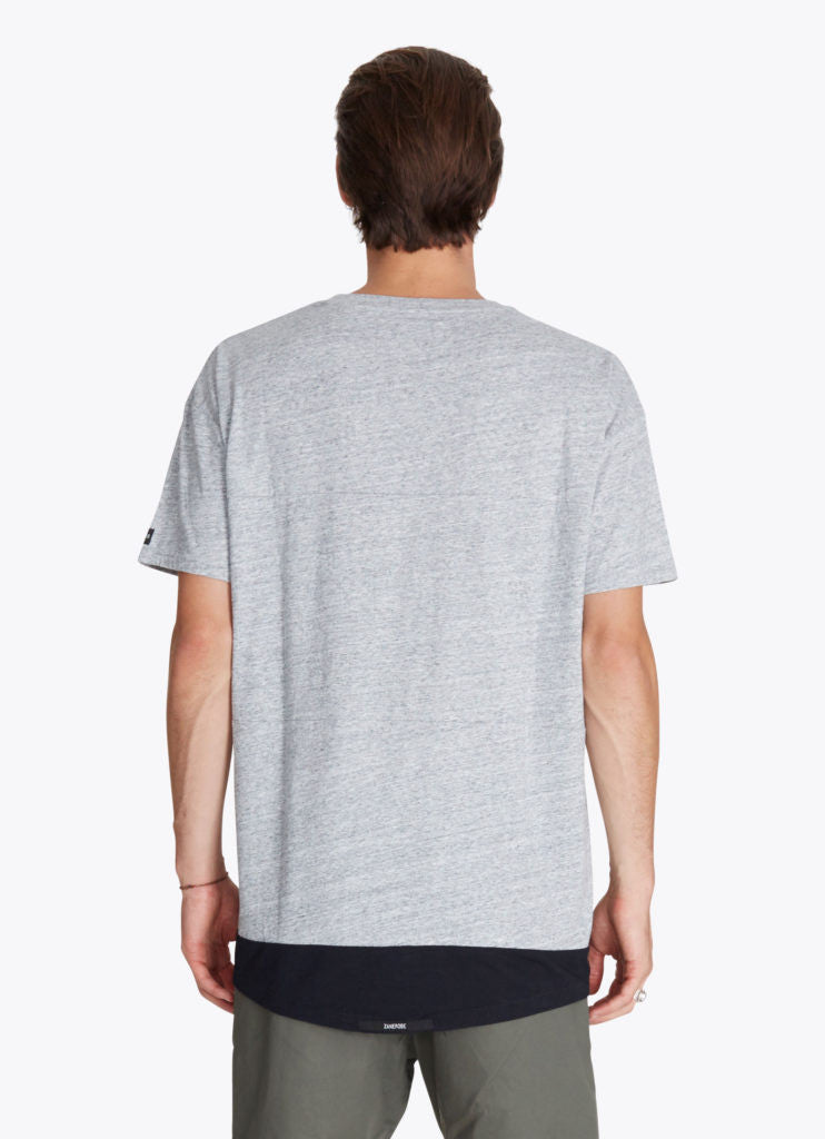ZANEROBE Dip Rugger T-Shirt in Grey Marle and Black  - 2