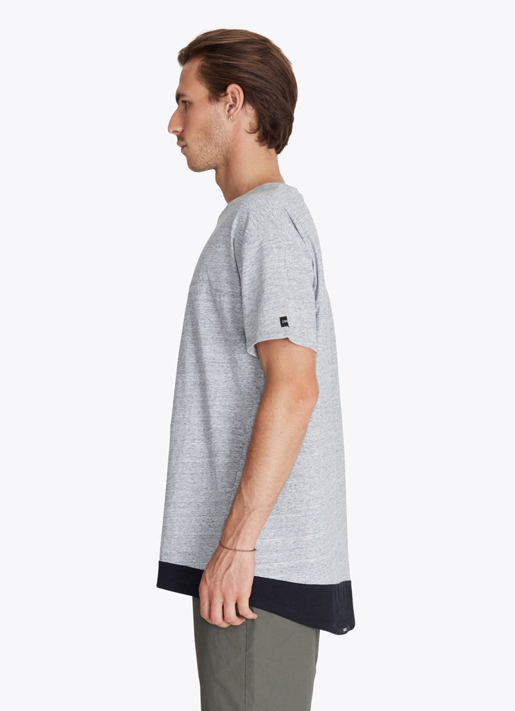 ZANEROBE Dip Rugger T-Shirt in Grey Marle and Black  - 4