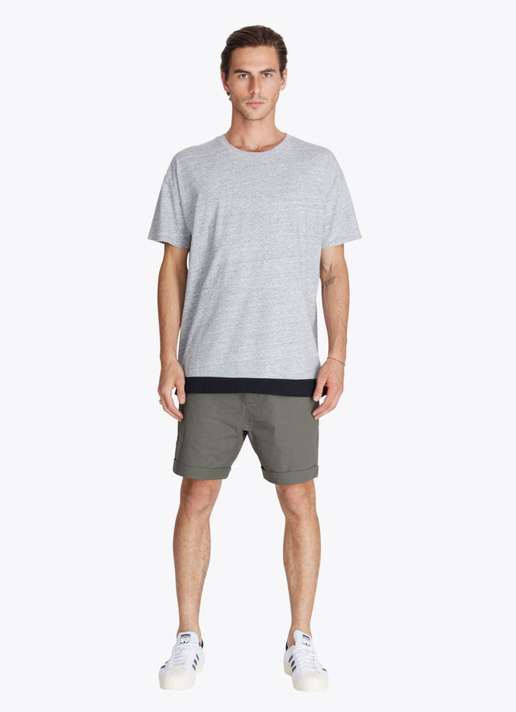 ZANEROBE Dip Rugger T-Shirt in Grey Marle and Black  - 5