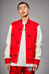 BOY LONDON BOY REPEAT VARSITY JACKET IN RED