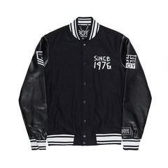 BOY LONDON BOY TAPE EAGLE SHORT VARSITY JACKET IN BLACK
