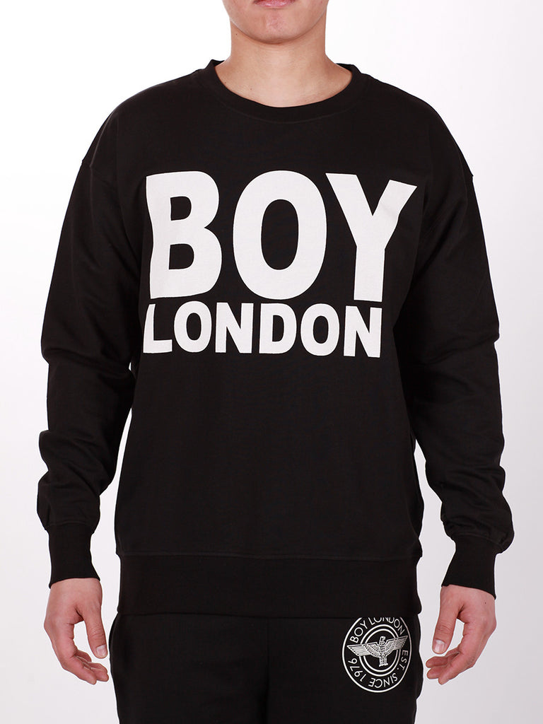 BOY LONDON SWEATSHIRT IN BLACK WITH WHITE 'BOY LONDON' LOGO  - 1