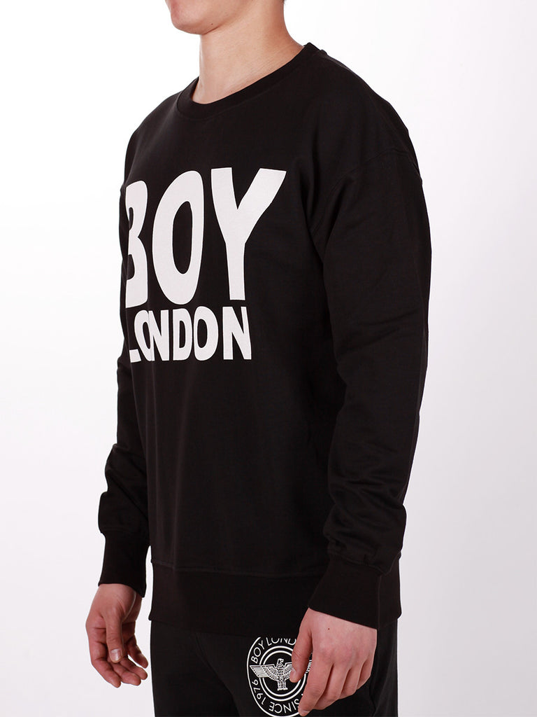 BOY LONDON SWEATSHIRT IN BLACK WITH WHITE 'BOY LONDON' LOGO  - 2