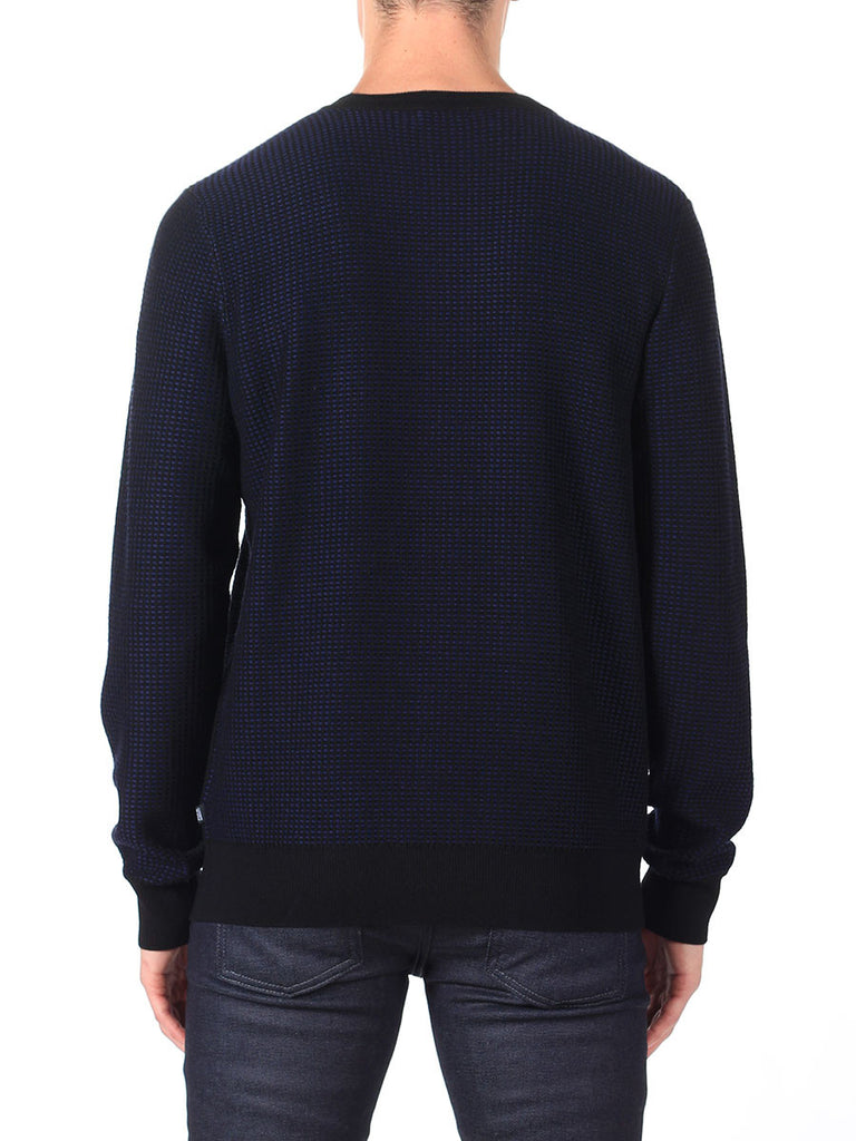 J Lindeberg Rento Stitched Knit Sweater in Midnight Blue  - 2